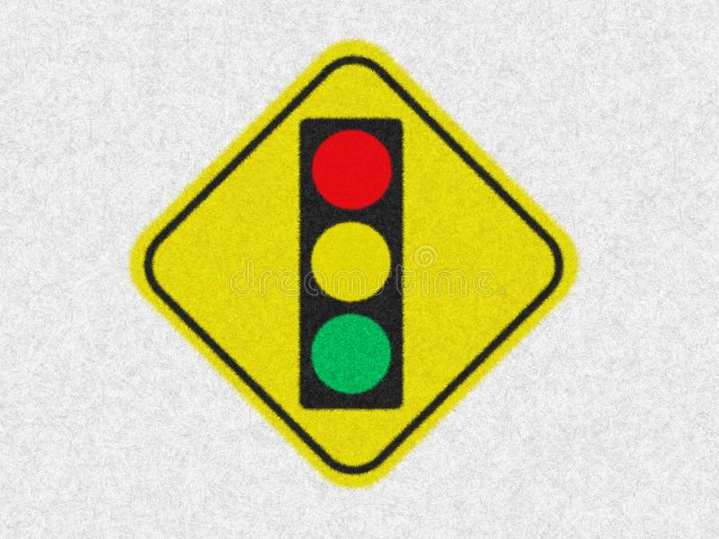 Traffic light sign or symbol icon isolated in white background. Caution signal for warning in transportation, RED YELLOW GREEN. royalty free stock photography