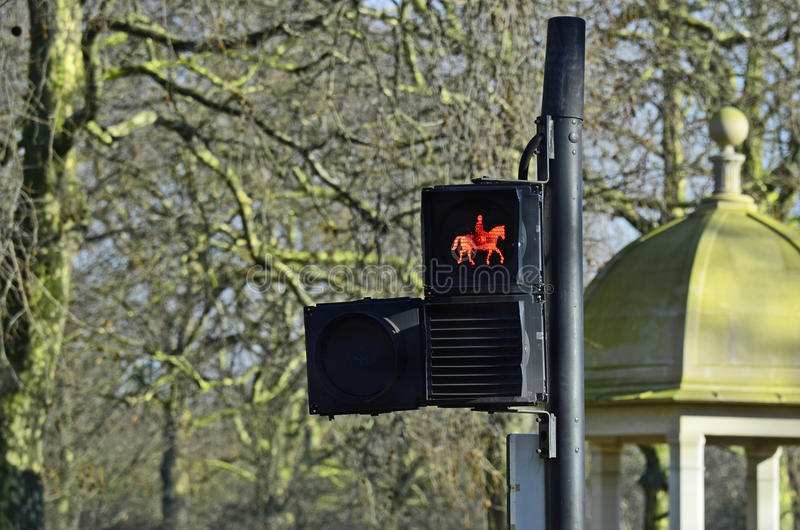 Traffic light signal for equestrians. Great Britain, London, traffic light signal for equestrians stock photos