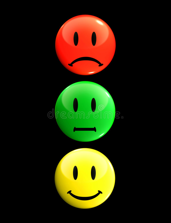 Traffic light smileys stock photo