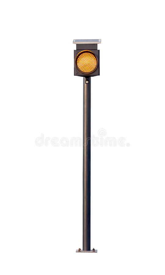 Traffic light with solar cells, isolated on white background, file includes an excellent clipping path. Traffic light with solar cells, isolated on white royalty free stock photo