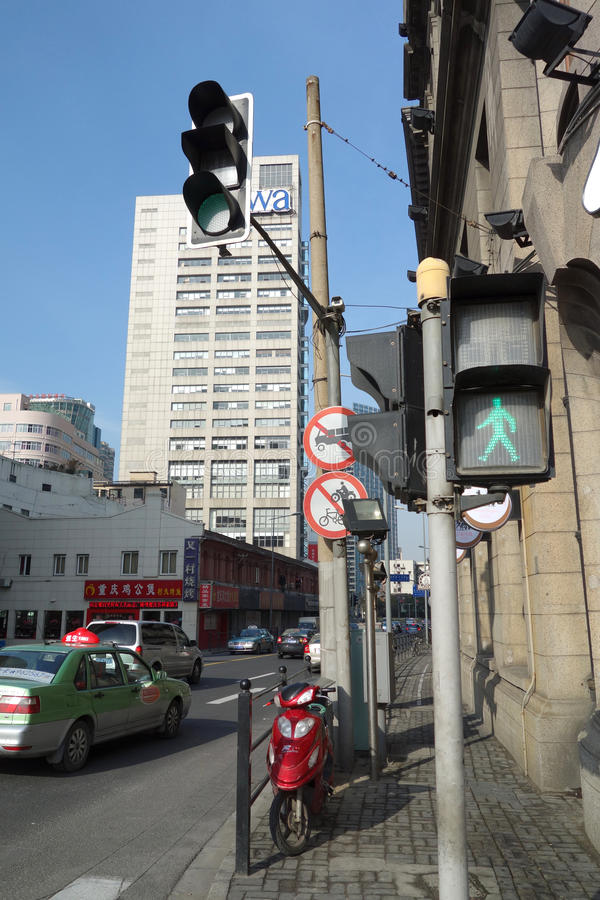 Traffic light in the Street. In shanghai,china royalty free stock photos
