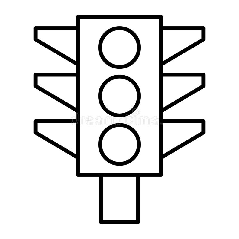 Traffic light thin line icon. Traffic signal illustration isolated on white. Lights outline style design, designed for royalty free illustration