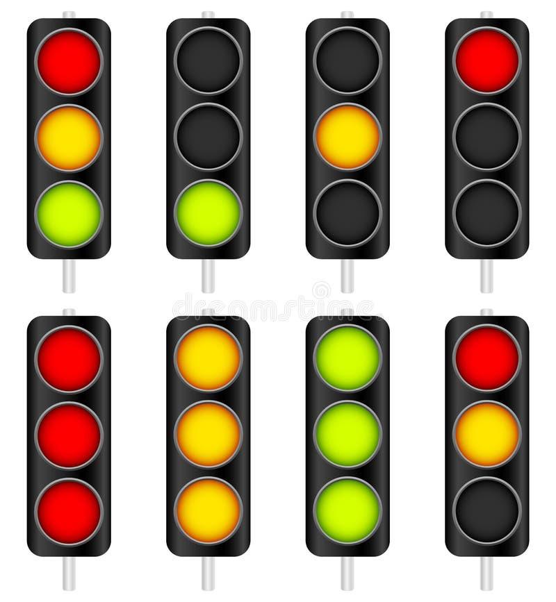 Traffic Light / Traffic Lamp set. Vector Illustration. Eps 10 Vector Illustration of Traffic Light / Traffic Lamp set. Vector Illustration royalty free illustration