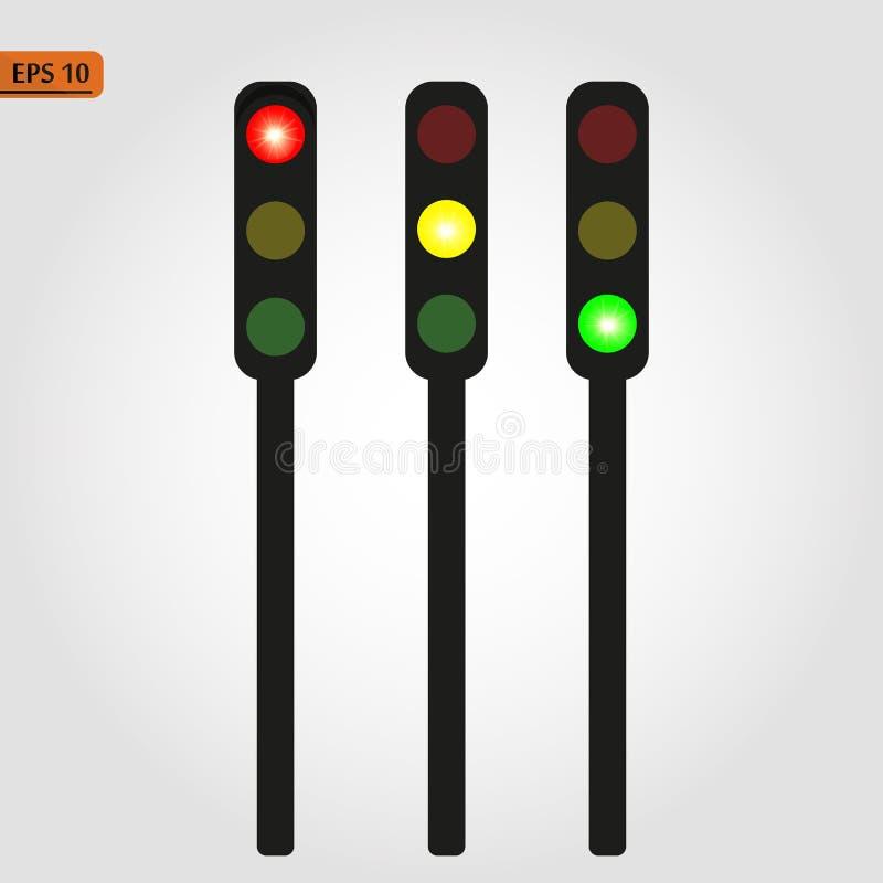 Traffic light, traffic light sequence vector. Red, yellow, green lights - Go, wait, stop.. eps 10. Traffic light, traffic light sequence vector. Red, yellow stock illustration