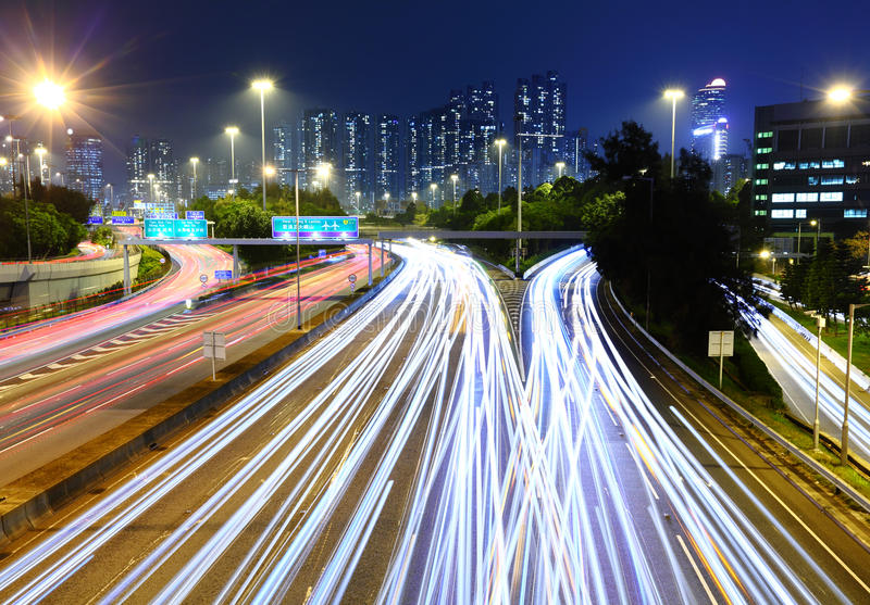 Download Traffic Light Trail On  Highway Stock Photo - Image: 28726852