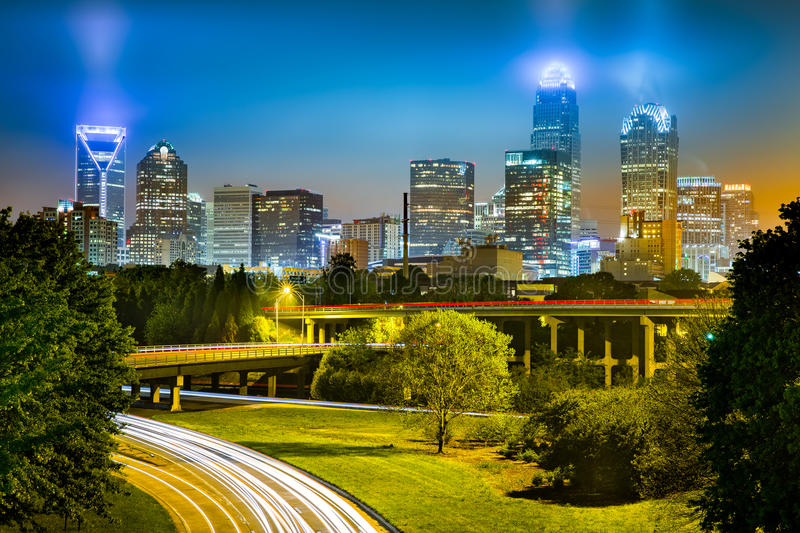 Traffic light trails in Charlotte, North Carolina stock image