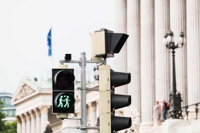 Traffic light Vienna for more tolerance. Stoplight with same-sex symbol stock photos
