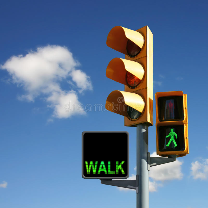 Traffic Lights. With Walk and Green Man stock images