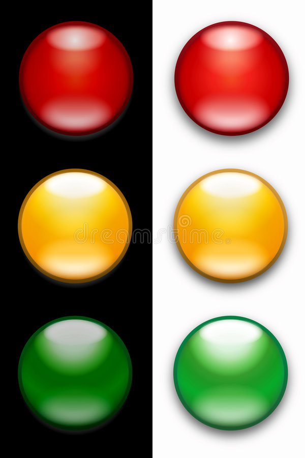 Traffic lights. A set of traffic light buttons showing red amber and green on a white or black background - the lights stand for ready steady go