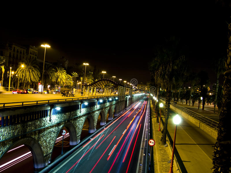 Download Traffic Lights In Barcelona Night Stock Image - Image: 11181985
