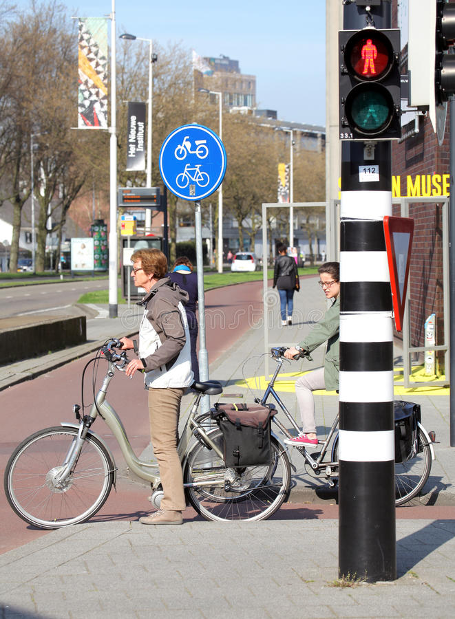 Traffic lights for bicycles, Rotterdam - Netherlands stock images
