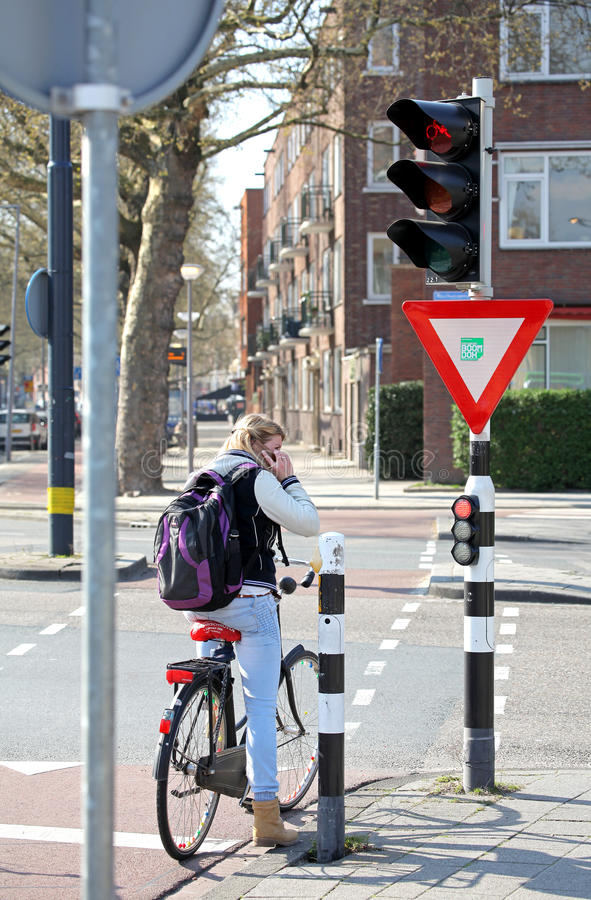 Traffic lights for bicycles, Rotterdam - Netherlands stock photos