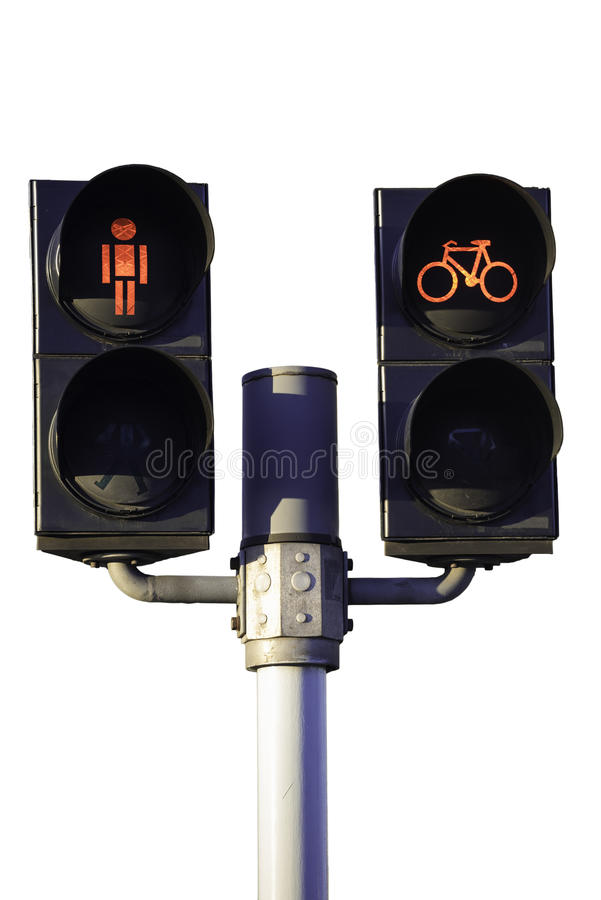 Traffic lights for cyclist and pedestrians royalty free stock photo