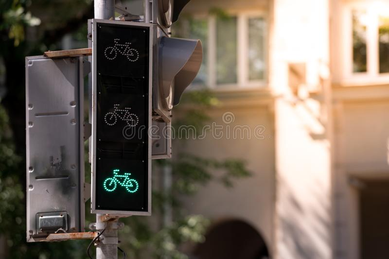 Traffic lights for cyclists. Enabled enable green input. Copy space stock photo
