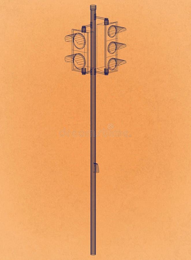 Traffic lights Design - Retro Architect Blueprint stock illustration