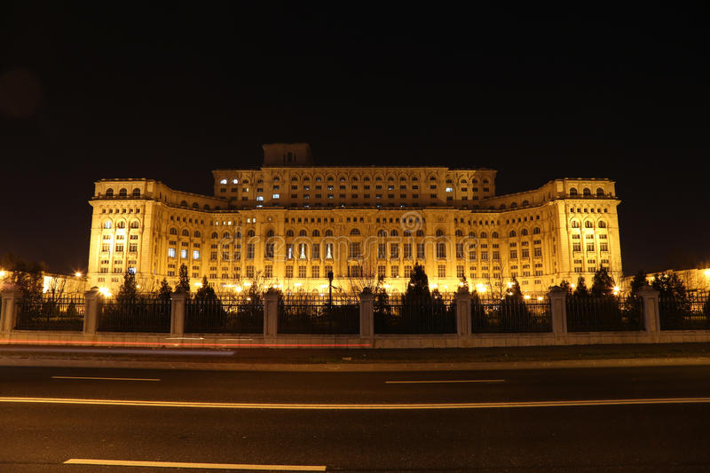 Travel to Romania: Palace of Parliament Traffic stock image