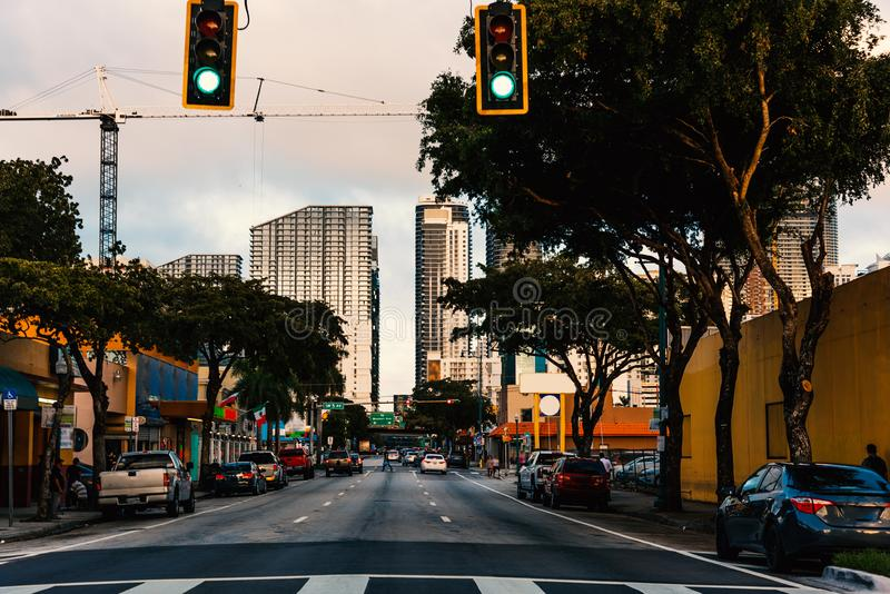 Traffic lights in Historic Little Havana district in Miami. Southern Florida, USA stock photos