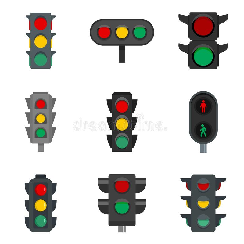 Traffic lights icon set, flat style vector illustration