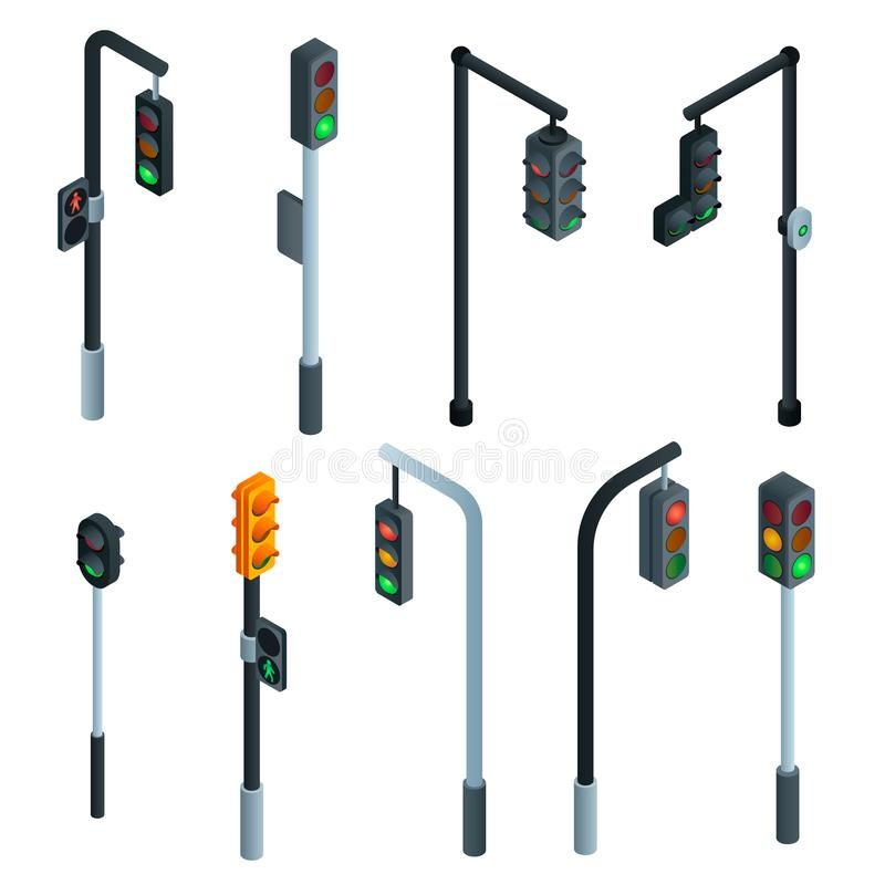 Traffic lights icons set, isometric style. Traffic lights icons set. Isometric set of traffic lights vector icons for web design isolated on white background stock illustration