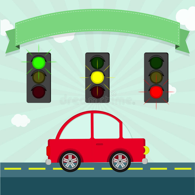 Traffic lights. Illuminated (green, yellow and red). Car down the street. Empty ribbon to enter text royalty free illustration