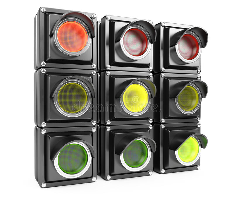 Traffic lights. Isolated on white background. 3d renderin image stock illustration