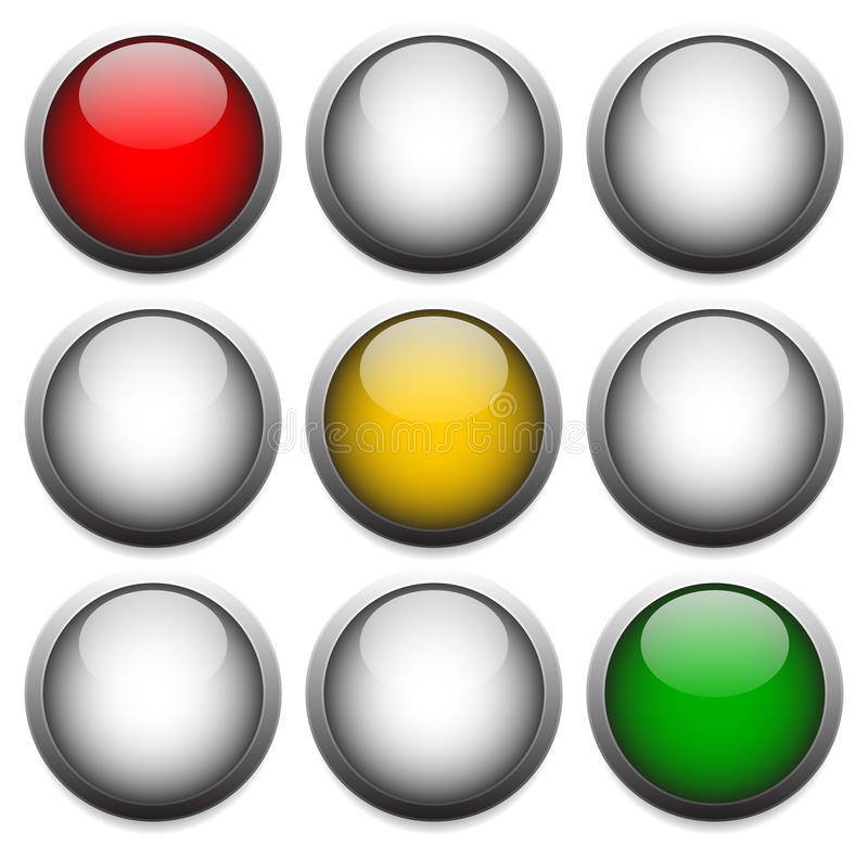 Traffic lights, lamps isolated on white. Red, yellow, green ligh. Eps 10 Vector Illustration of Traffic lights, lamps isolated on white. Red, yellow, green vector illustration