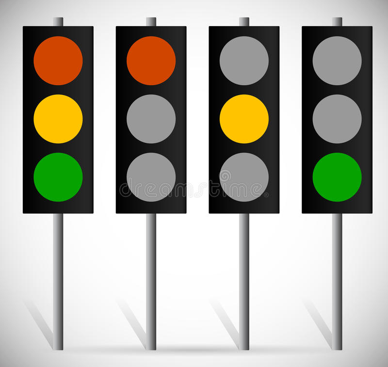 Traffic Lights, Lamps or Traffic Signals set. Red, Yellow, Green. Eps 10 Vector Illustration of Traffic Lights, Lamps or Traffic Signals set. Red, Yellow, Green vector illustration