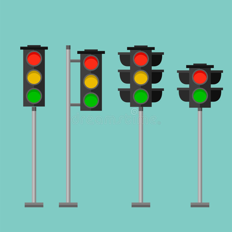 Traffic lights safety stop sign stoplight isolated lamp control transportation warning semaphore vector illustration vector illustration