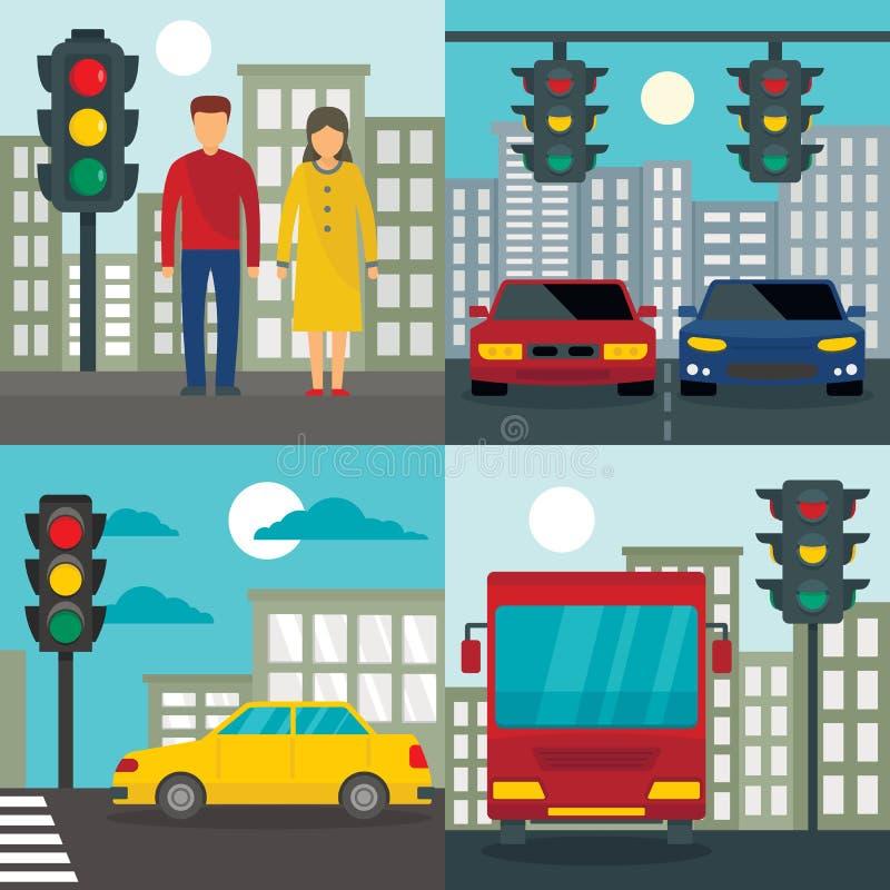 Traffic lights semaphore banner set, flat style. Traffic lights semaphore banner set. Flat illustration of traffic lights semaphore vector banner set for web stock illustration
