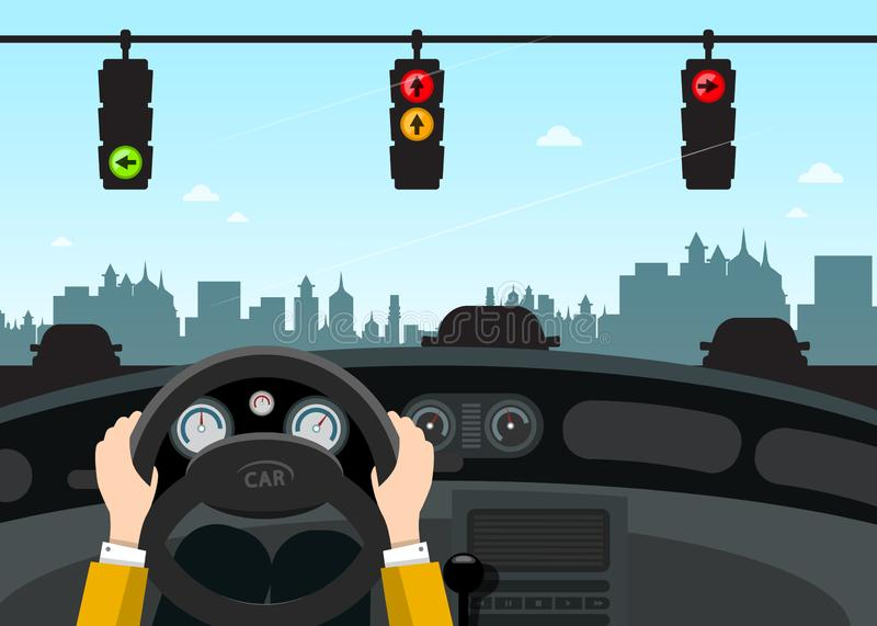 Traffic Lights on Street. Car Interior View. With Hands on Steering Wheel. Vector stock illustration
