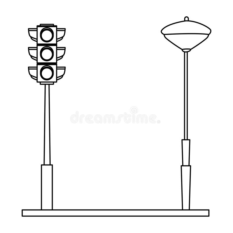 Traffic lights and streetlight on street in black and white. Traffic lights and streetlight on street vector illustration graphic design royalty free illustration