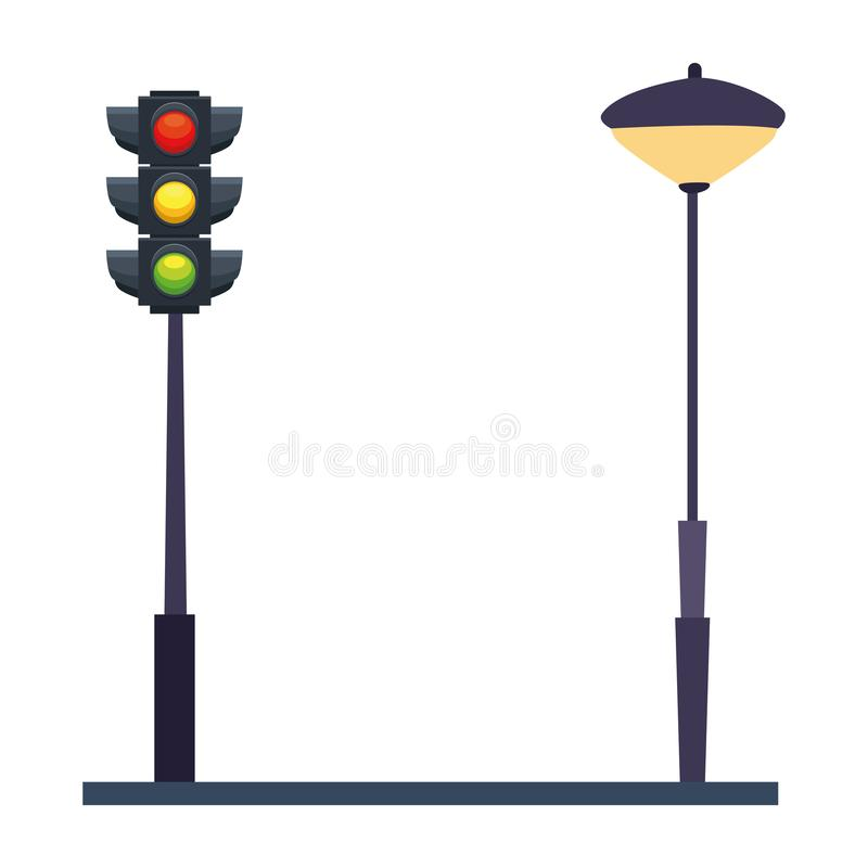 Traffic lights and streetlight on street. Vector illustration graphic design royalty free illustration