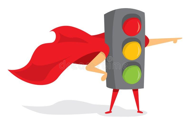 Traffic lights super hero with cape. Cartoon illustration of traffic lights super hero with cape stock illustration