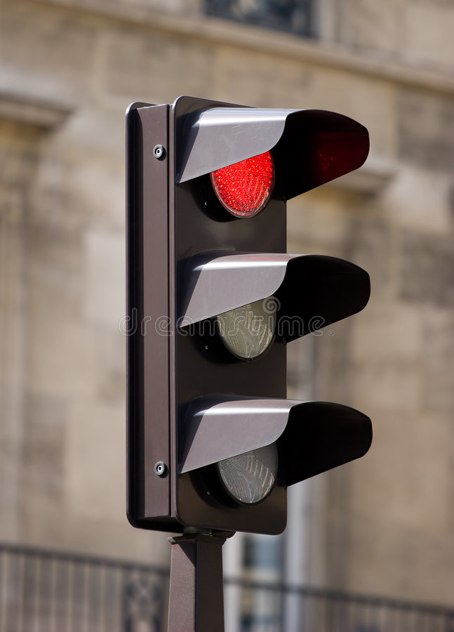 Traffic lights on urban background stock photo