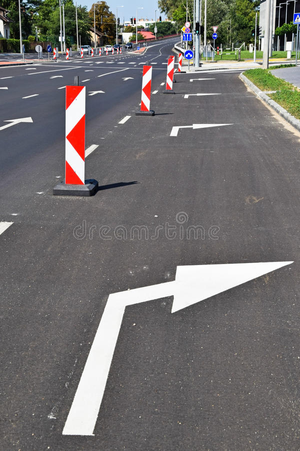 Traffic line and arrow signs. In the city stock photo