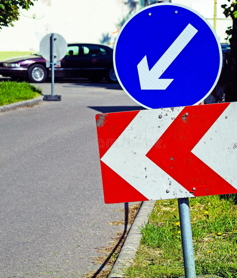 Traffic line and arrow signs. In the city stock image