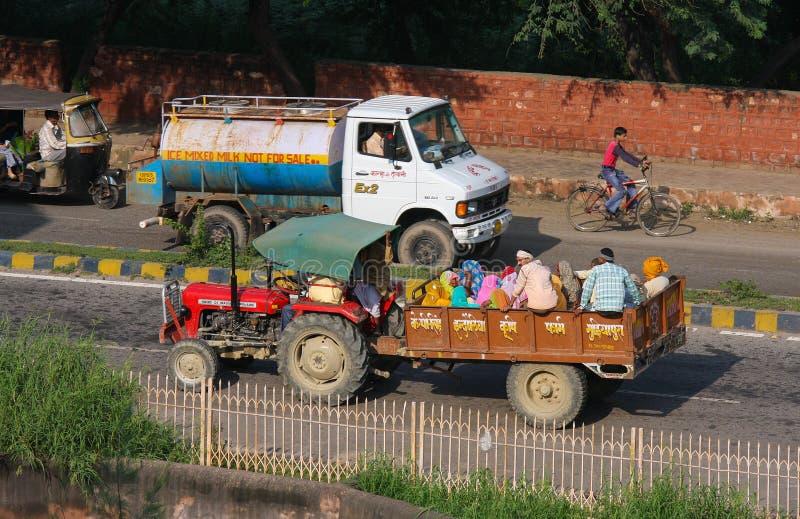 Traffic on a local street in Agra, Uttar Pradesh, India. AGRA, INDIA - SEPTEMBER 21, 2008: Traffic on a local street in Agra, Uttar Pradesh, India stock photography