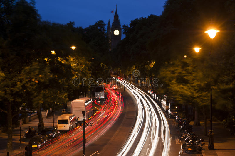 Traffic In London, Light Streaks At Dusk. Stock Images