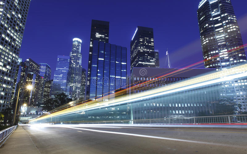 Traffic through Los Angeles. Traffic through downtown Los Angeles royalty free stock photography