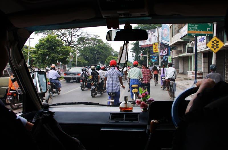 Traffic in Mandalay, Myanmar royalty free stock image