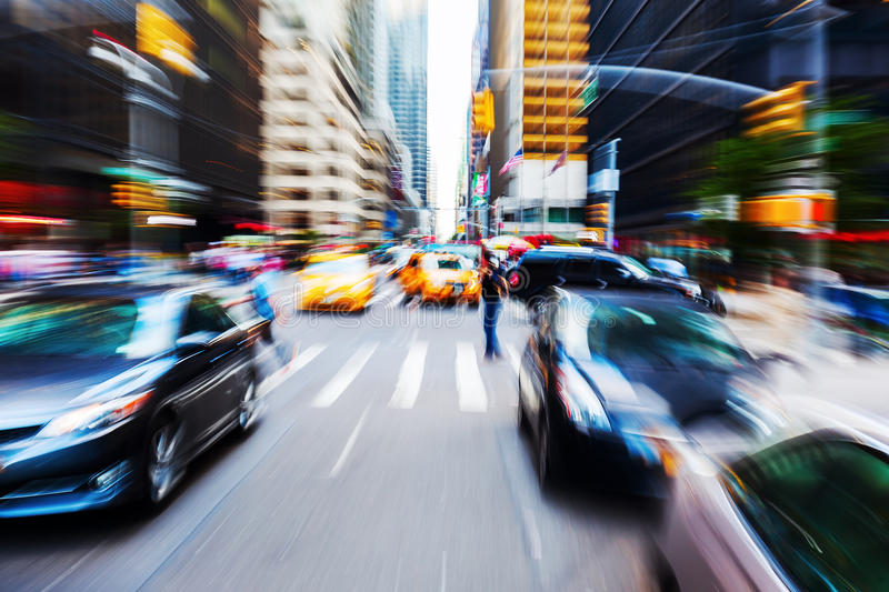 Traffic in Manhattan, NYC. Picture with camera made zoom effect of a traffic scene in Manhattan, NYC stock photography
