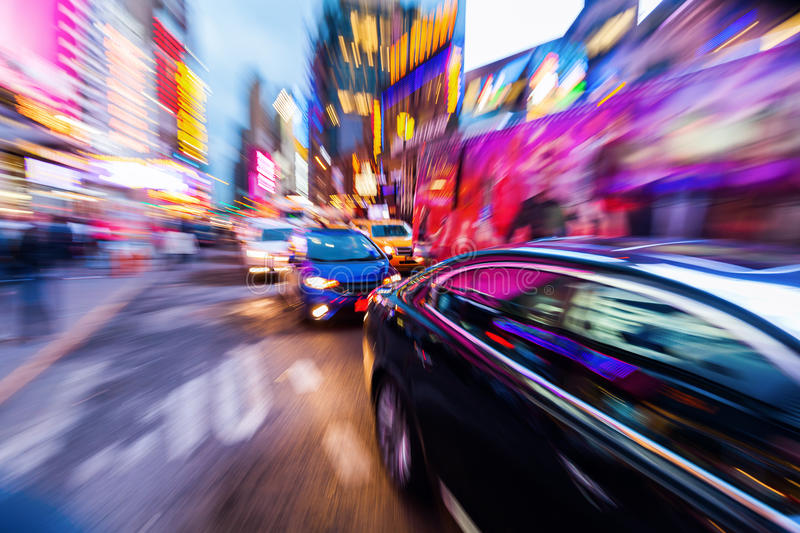 Traffic in Manhattan, NYC. Picture with camera made zoom effect of a traffic scene in Manhattan, NYC royalty free stock image