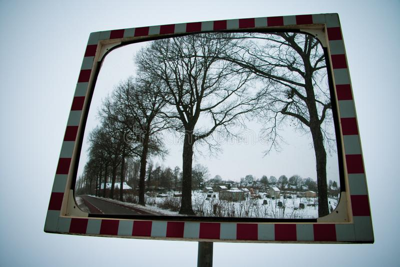Traffic mirror sign in the Netherlands royalty free stock photography