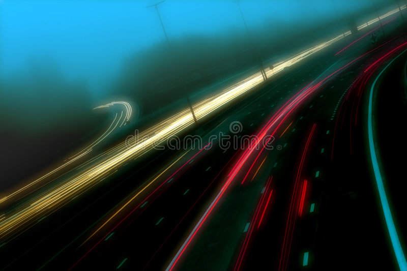 Traffic in the mist royalty free stock photo