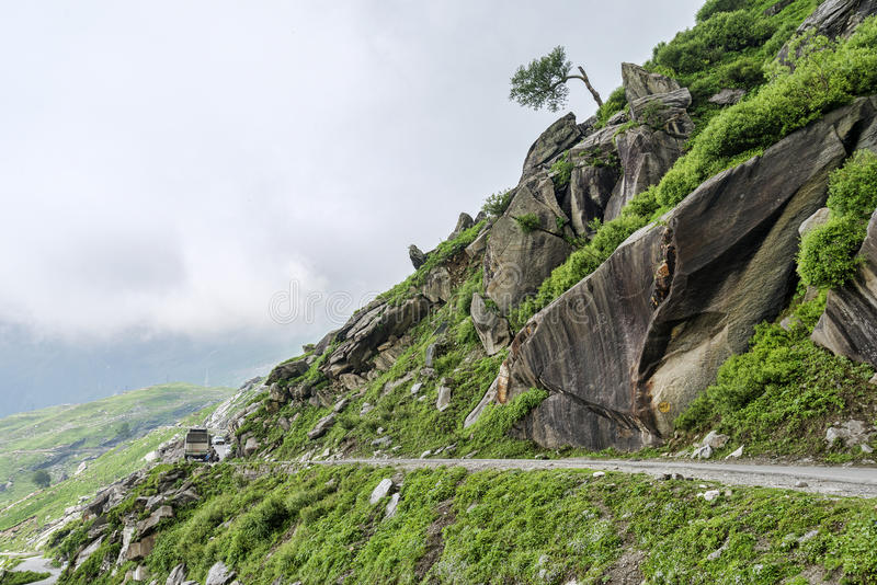 Traffic on mountain road stock photos