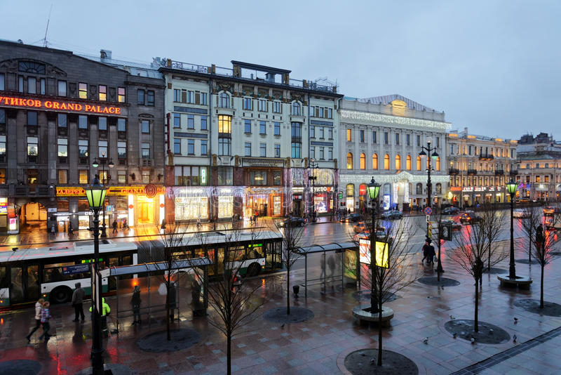 Traffic on the Nevsky avenue in St. Petersburg, Russia royalty free stock photography