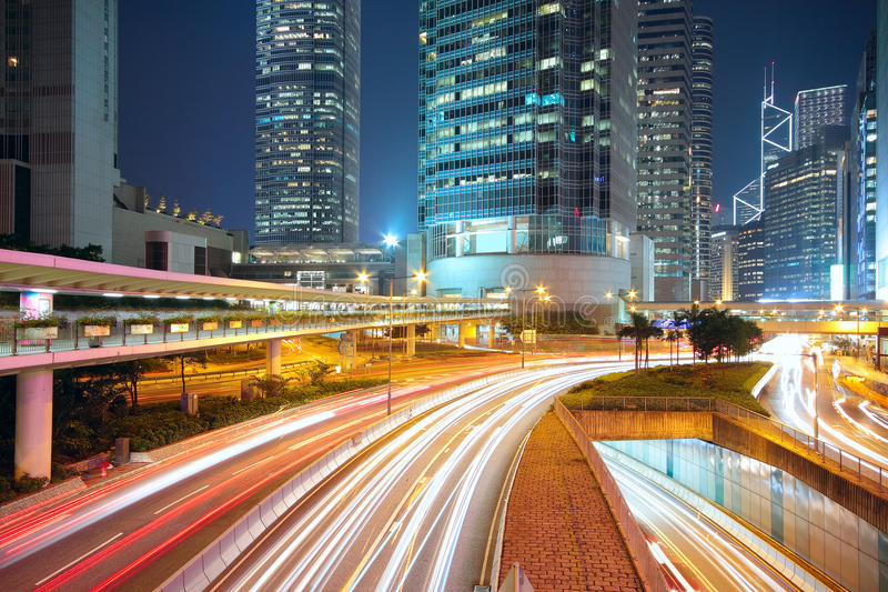 Traffic night in downtown area. Hong kong royalty free stock images