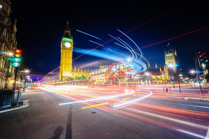 Download Traffic at night in London stock image. Image of capital - 56539369