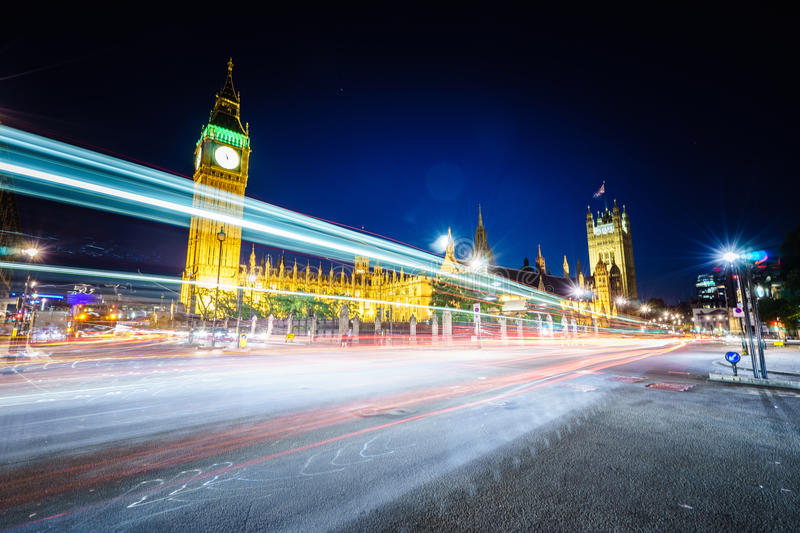 Traffic at night in London stock photography