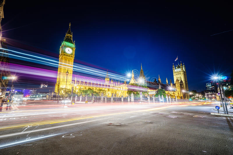 Traffic at night in London stock images